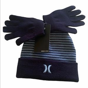 Hurley Kids Beanie with Pair of Gloves.
